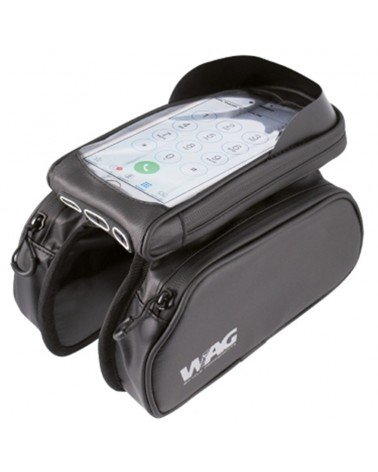 WAG Waterproof Top Tube Bag with Removable Phone Case 18x9x3,5cm, Black