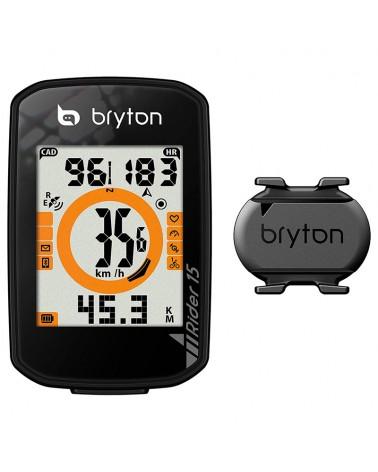 Bryton Rider 15C GPS Ciclocomputer con Sensore Cadenza, Nero