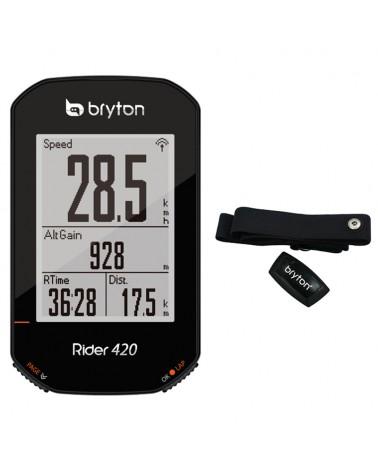 Bryton Rider 420E GPS Cycling Computer + HRM, Black