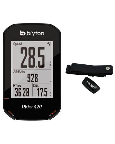Bryton Rider 420H GPS Ciclocomputer + Fascia Cardio, Nero