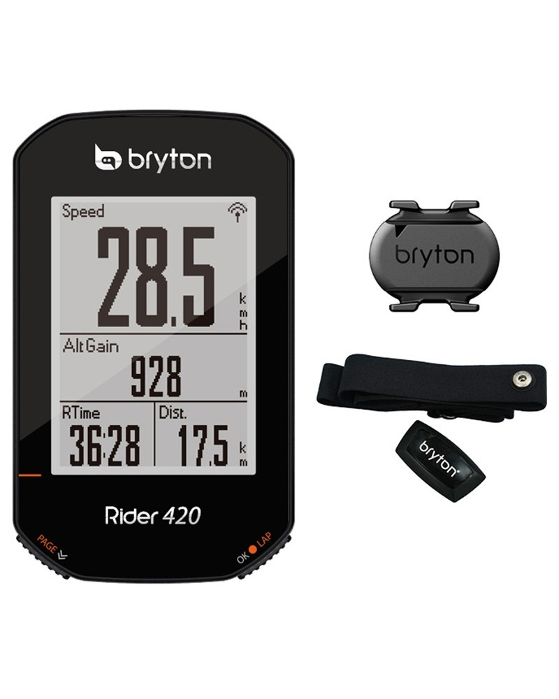 Bryton Rider 420T GPS Ciclocomputer + Fascia Cardio + Sensore Cadenza, Nero