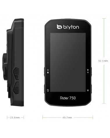 Bryton Rider 750T Touchscreen GPS Cycling Computer + HRM and Speed/Cadence ANT+ Dual Sensors, Black