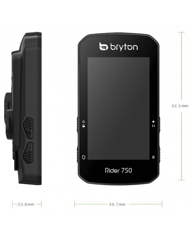 Bryton Rider 750T GPS Ciclocomputer Touchscreen + Fascia Cardio e Sensori Dual Cadenza/Velocità ANT+, Nero