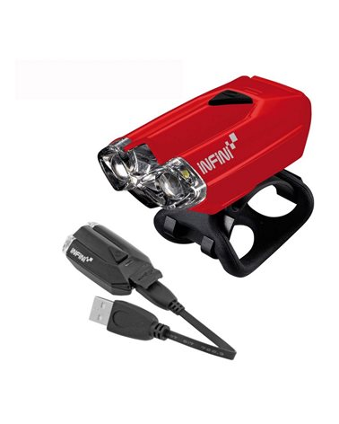 Infini Lava Front Light With 2 White Leds. USB Rechargeable. Red