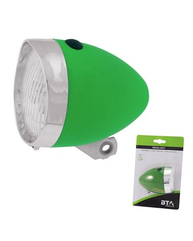 BTA Front Light Battery Vintage With 3 White Led. Green..