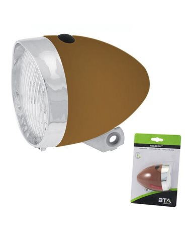 BTA Front Light Battery Vintage With 3 White Led. Brown Color..
