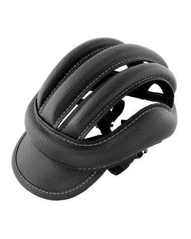 Ebon Leather Crash Cap Eroica, Complete Of Visor And Strap, Black