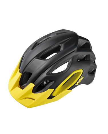 Wag MTB Helmet For Adult Oak, In-Mould , Size M. Black/Yellow. Black Spare Visor Included.