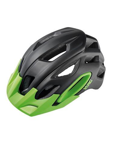 Wag MTB Helmet For Adult Oak, In-Mould , Size M. Black/Green. Black Spare Visor Included.