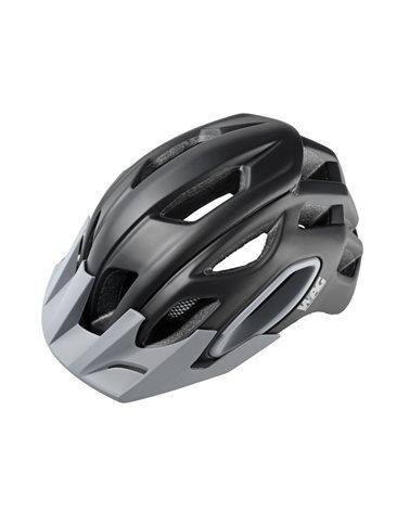 Wag MTB Helmet For Adult Oak, In-Mould , Size L. Black/Grey Color. Black Spare Visor Included.