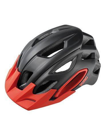 Wag MTB Helmet For Adult Oak, In-Mould , Size L. Black/Red. Black Spare Visor Included.
