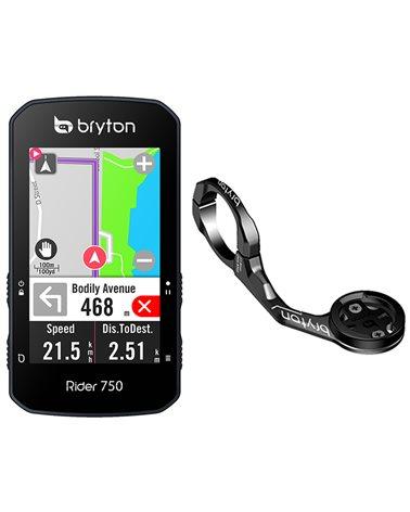 Bryton Rider 750E GPS Ciclocomputer Touchscreen + Staffa Frontale in Alluminio, Nero