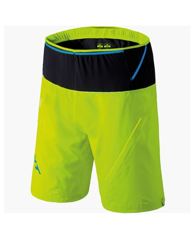 Dynafit Ultra 2/1 Men's Trail Running Shorts with Tight Size 48, Fluo Yellow/0910/8940