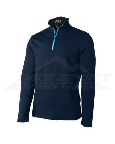 Mico Jumper Micro Fleece Soft Men's Long Sleeve Mid Layer 1/2 Zip, Blue