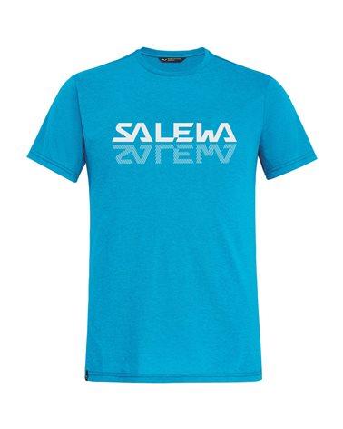 Salewa Reflection Dry Men's Alpine Trekking Short Sleeve Tee, Blue Danube Melange