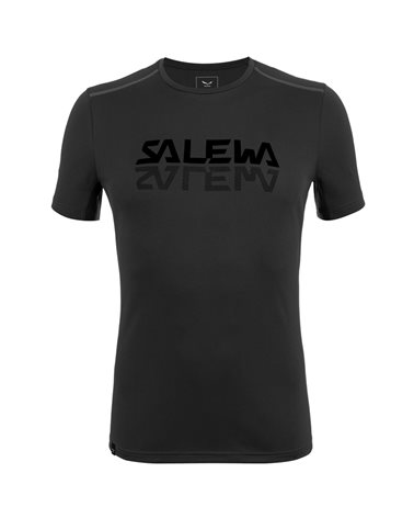 Salewa Sporty Graphic Dry Men's Speed Hiking Short Sleeve Tee, Black Out