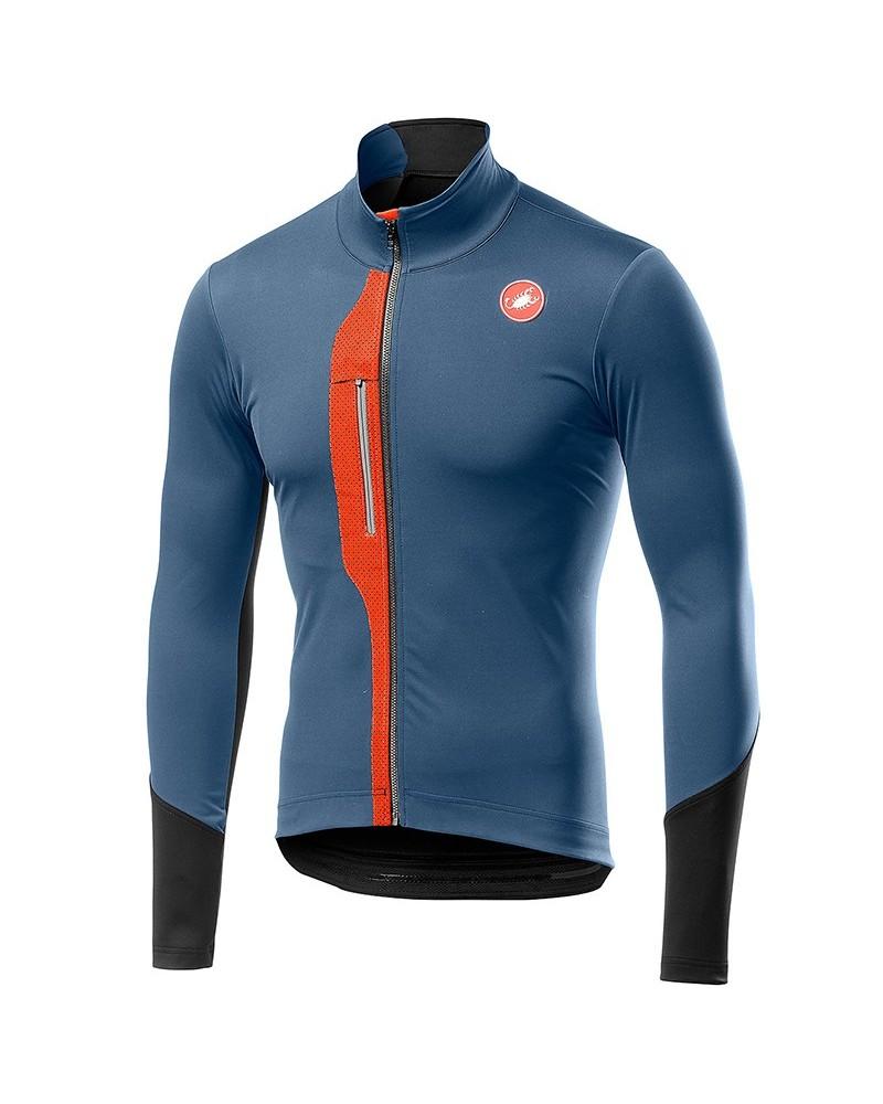 Castelli Trasparente V Polartec YKK Vislon Full Zip Men's Cycling Jersey, Light/Steel Blue