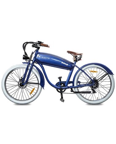 "Electri Bold 26"" Cruiser e-Bike 250W Shimano 7sp Disc Brake, Glossy Blue"