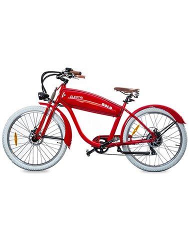 "Electri Bold 26"" Cruiser e-Bike 250W Shimano 7sp Disc Brake, Glossy Red"