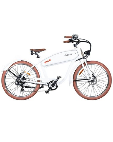 "Electri Bold 26"" Cruiser e-Bike 250W Shimano 7sp Disc Brake, Matte White"