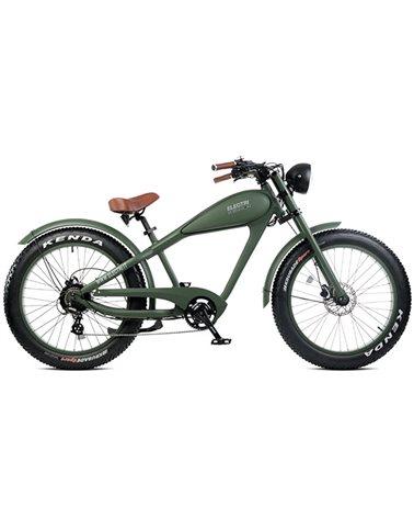 "Electri Warrior 26"" Chopper e-Bike Fat 250W Shimano Altus 7sp Disc Brake, Matte Dark Green"