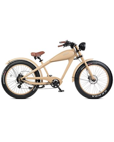 "Electri Warrior 26"" Chopper e-Bike Fat 250W Shimano Altus 7sp Disc Brake, Matte Sand"