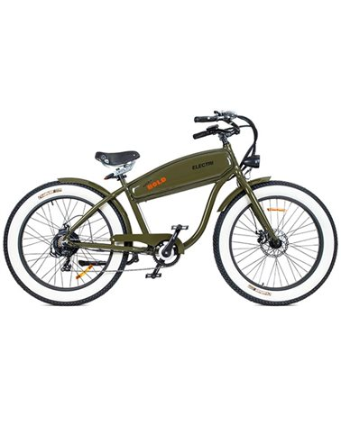 "Electri Extra Bold 26"" e-Bike Fat 250W Shimano 7v Disc Brake, Matte Military Green"