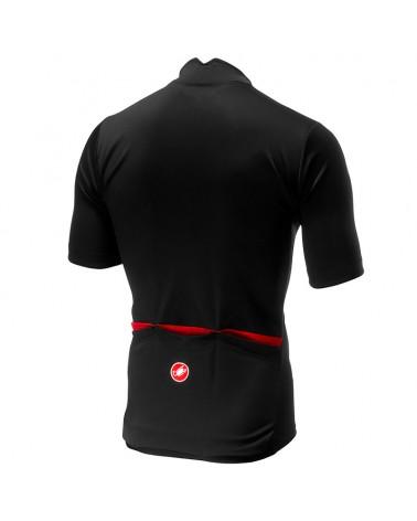 Castelli Espresso Maglia Maniche Corte Full Zip Uomo, Black/Red