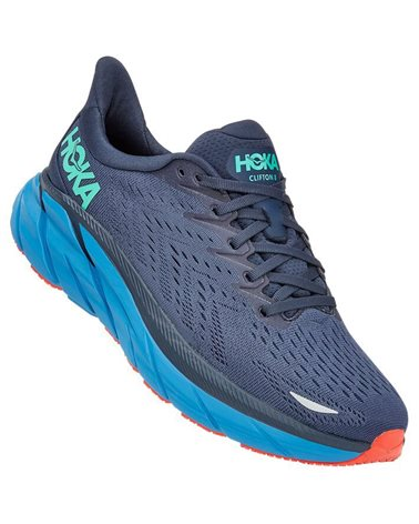 Hoka One One Clifton 8 Men's Running Shoes, Outer Space/Vallarta Blue