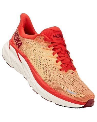 Hoka One One Clifton 8 Men's Running Shoes, Fiesta Blazzing/Orange