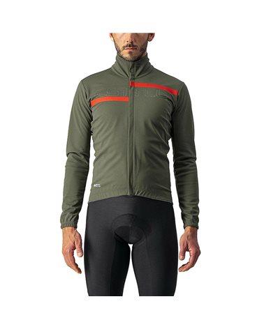 Castelli Transition 2 GTX Gore-Tex Windstopper Men's Light Cycling Jacket, Military Green/Red Reflex