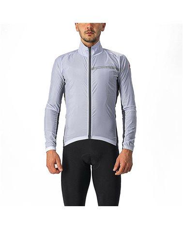 Castelli Squadra Stretch Giacca Comprimibile Antivento Uomo, Silver Gray/Dark Gray