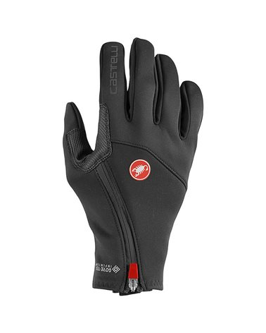 Castelli Mortirolo GTX Gore-Tex/Windstopper Guanti Ciclismo, Light Black