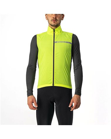 Castelli Squadra Stretch Windproof Men's Packable Cycling Vest, Yellow Fluo/Dark Gray
