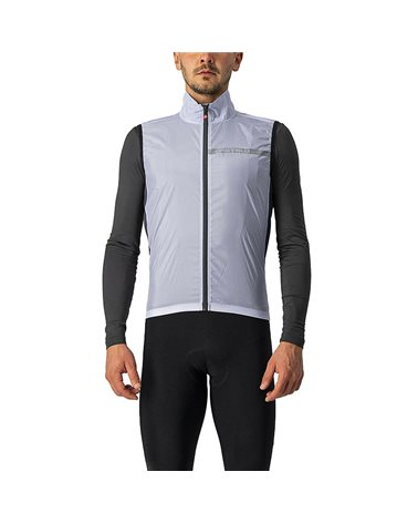 Castelli Squadra Stretch Windproof Men's Packable Cycling Vest, Silver Gray/Dark Gray