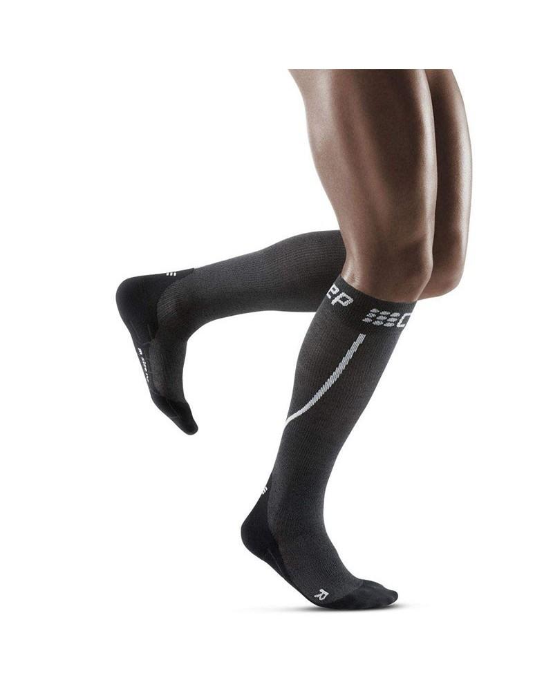 Cep Winter Run Calze a Compressione Running Uomo, Grey/Black