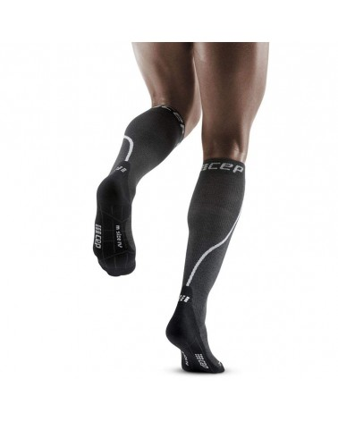 Cep Winter Run Compression Men's Running Socks, Grey/Black