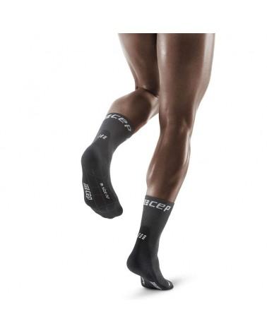 Cep Winter Run Compression Short Men's Running Socks, Grey/Black