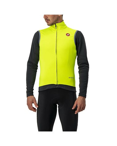 Castelli Perfetto Ros Waterproof/Windproof Men's Cycling Vest, Yellow Fluo