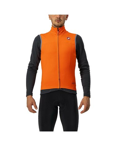 Castelli Perfetto Ros Waterproof/Windproof Men's Cycling Vest, Brilliant Orange