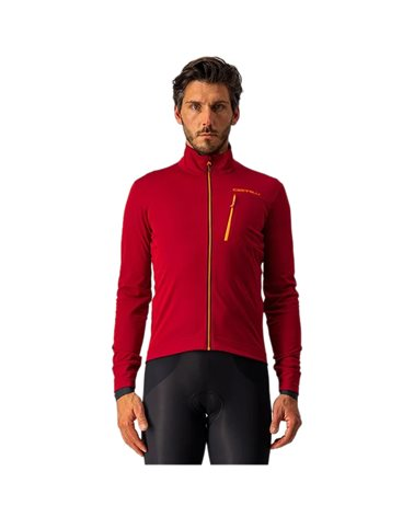 Castelli GO GTX Gore-Tex Infinium Windstopper Men's Waterproof/Windproof Cycling Jacket, Pro Red/Brilliant Orange
