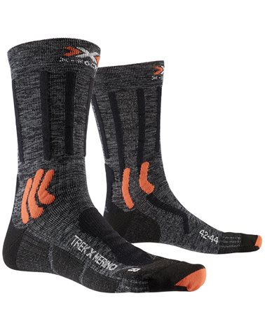 X-Bionic X-Socks Trek X Merino Trekking Socks, Grey Duo Melange/X-Orange/Black