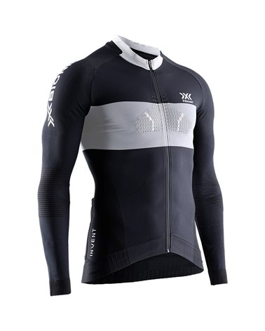 X-Bionic Invent 4.0 Cycling Race Zip Men's Long Sleeve Shirt, Black/Charcoal
