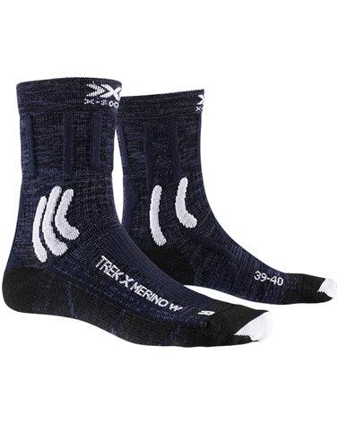 X-Bionic X-Socks 4.0 Trek X Merino Women's Trekking Socks, Midnight Blue/Arctic White