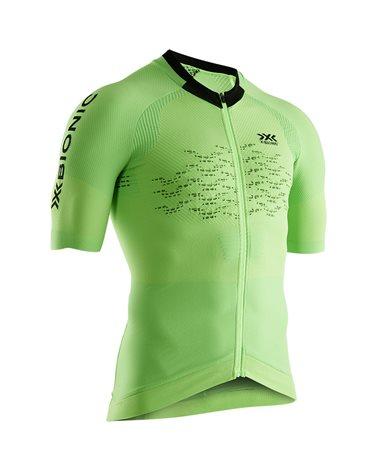 X-Bionic The Trick 4.0 Bike Zip SS Men's Cycling Short Sleeve Tee, Amazonas Green/Opal Black