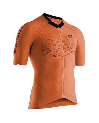 X-Bionic The Trick 4.0 Bike Zip SS Men's Cycling Short Sleeve Tee, Trick Orange/Arctic White