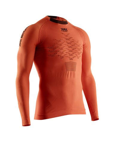 X-Bionic The Trick 4.0 Run Men's Running Long Sleeve Shirt, Trick Orange/Black