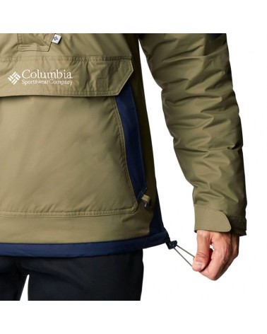 Columbia Challenger Pullover Giacca Impermeabile Uomo, Stone Green/Collegiate Navy