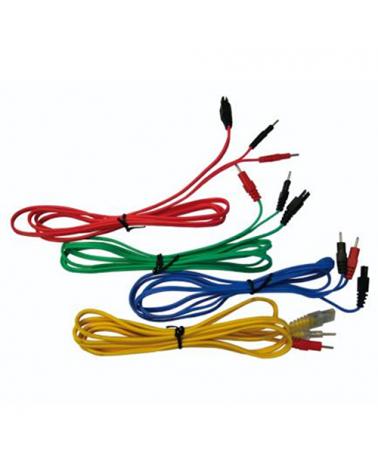 Compex Cavi 1 Set da 4, Rosso/Giallo/Verde/Blu per Energy/Fitness II/Body