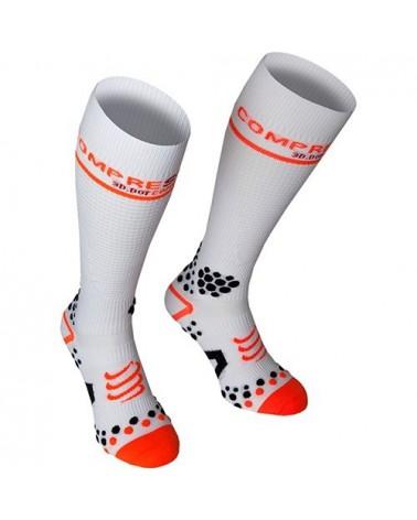 Compressport 3D Dots Socks Full Socks V2 Calze Compressione Media, White